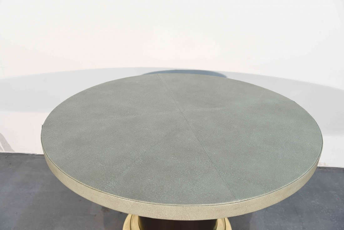 MID-CENTURY GLASS & BRASS TABLE W/ SHAGREEN COVER - 2