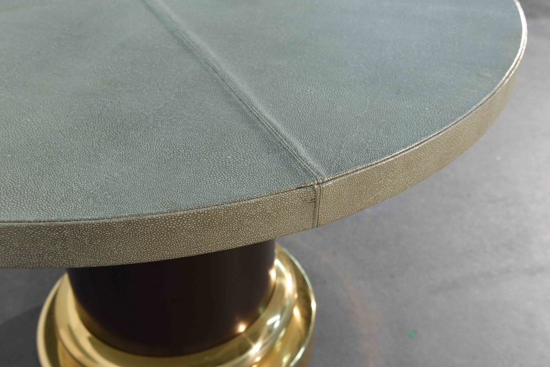 MID-CENTURY GLASS & BRASS TABLE W/ SHAGREEN COVER - 5