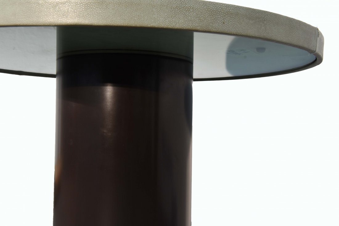 MID-CENTURY GLASS & BRASS TABLE W/ SHAGREEN COVER - 7