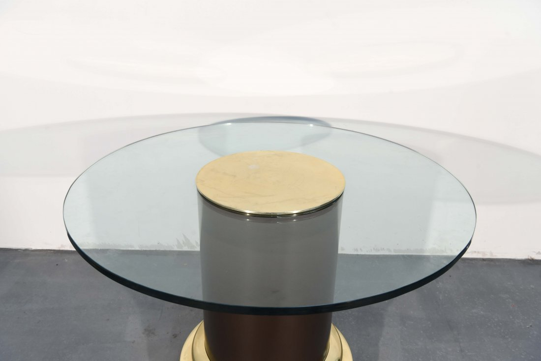 MID-CENTURY GLASS & BRASS TABLE W/ SHAGREEN COVER - 9