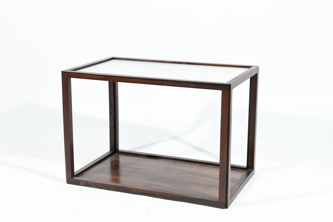 ROSEWOOD AND LAMINATE END TABLE