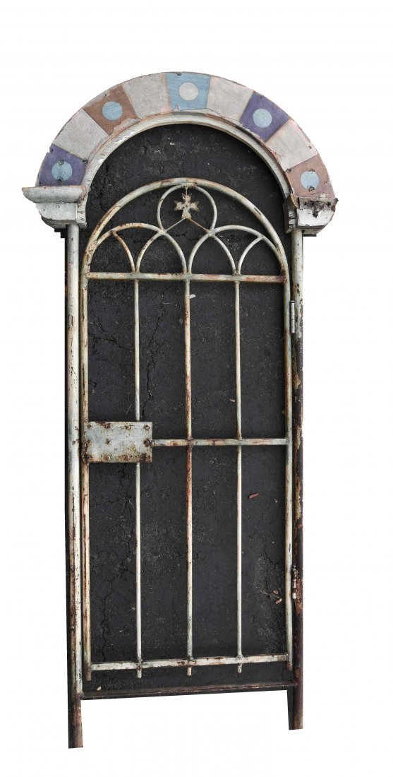METAL AND WOOD PAINTED GATE DOOR