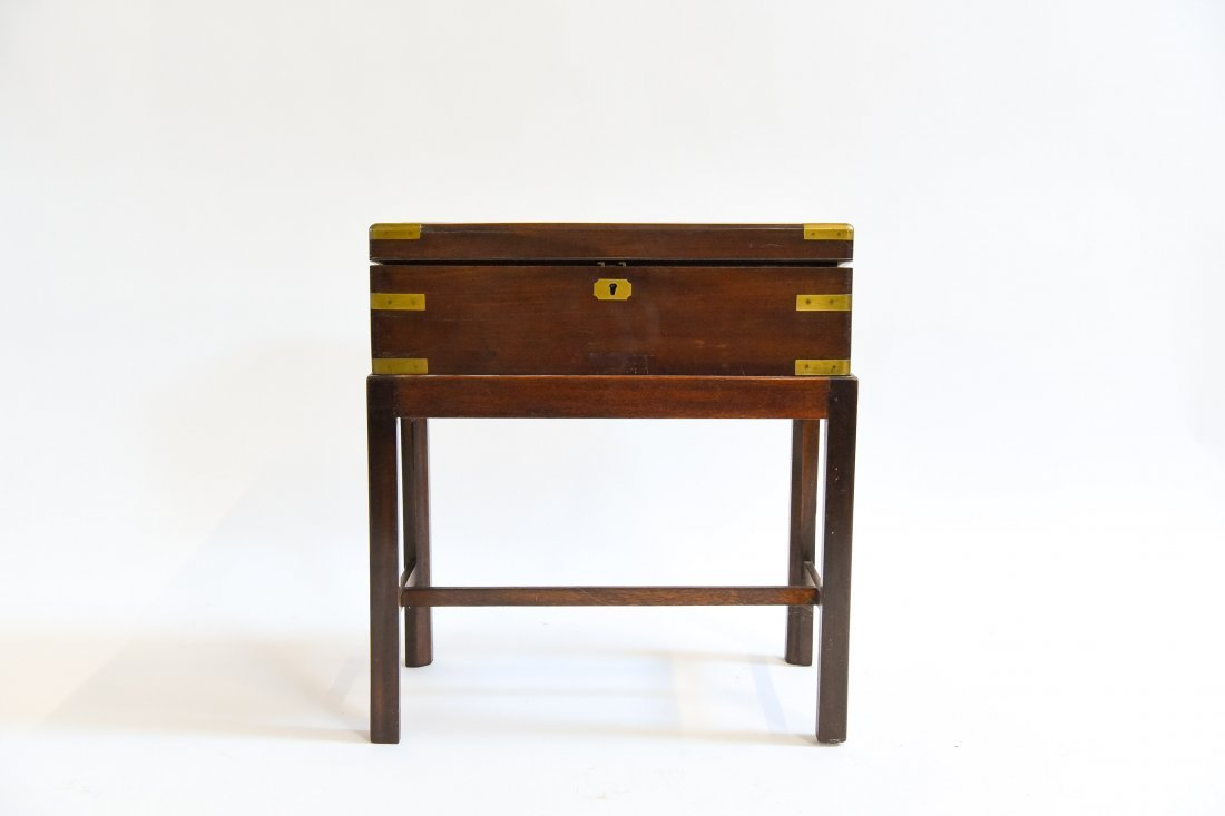 ANTIQUE ENGLISH CAMPAIGN DESK ON STAND