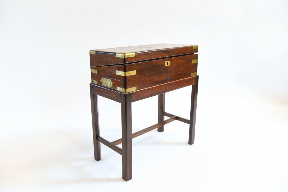 ANTIQUE ENGLISH CAMPAIGN DESK ON STAND - 2