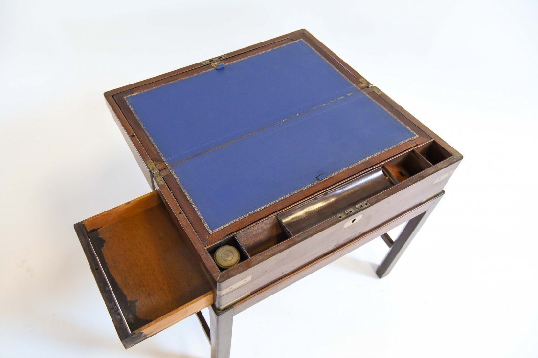ANTIQUE ENGLISH CAMPAIGN DESK ON STAND - 4