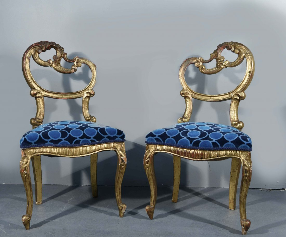 (2) FRENCH GILTWOOD LOUIS XV STYLE SIDE CHAIRS