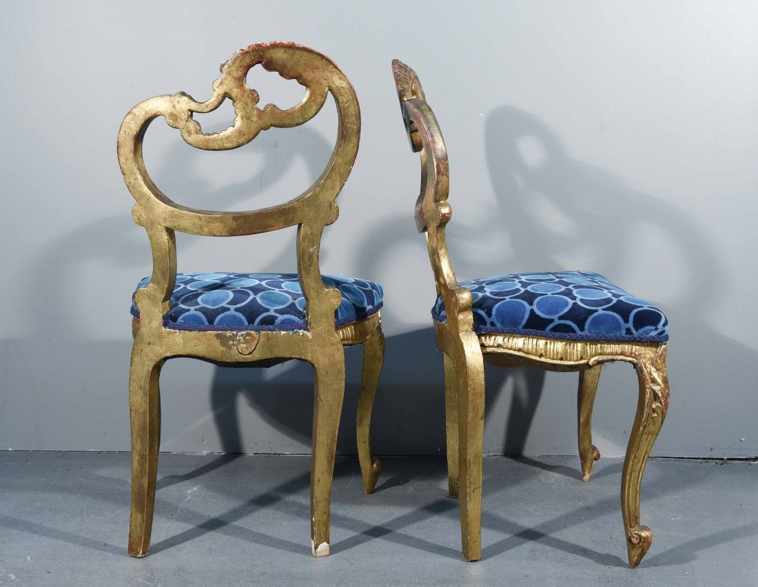 (2) FRENCH GILTWOOD LOUIS XV STYLE SIDE CHAIRS - 6