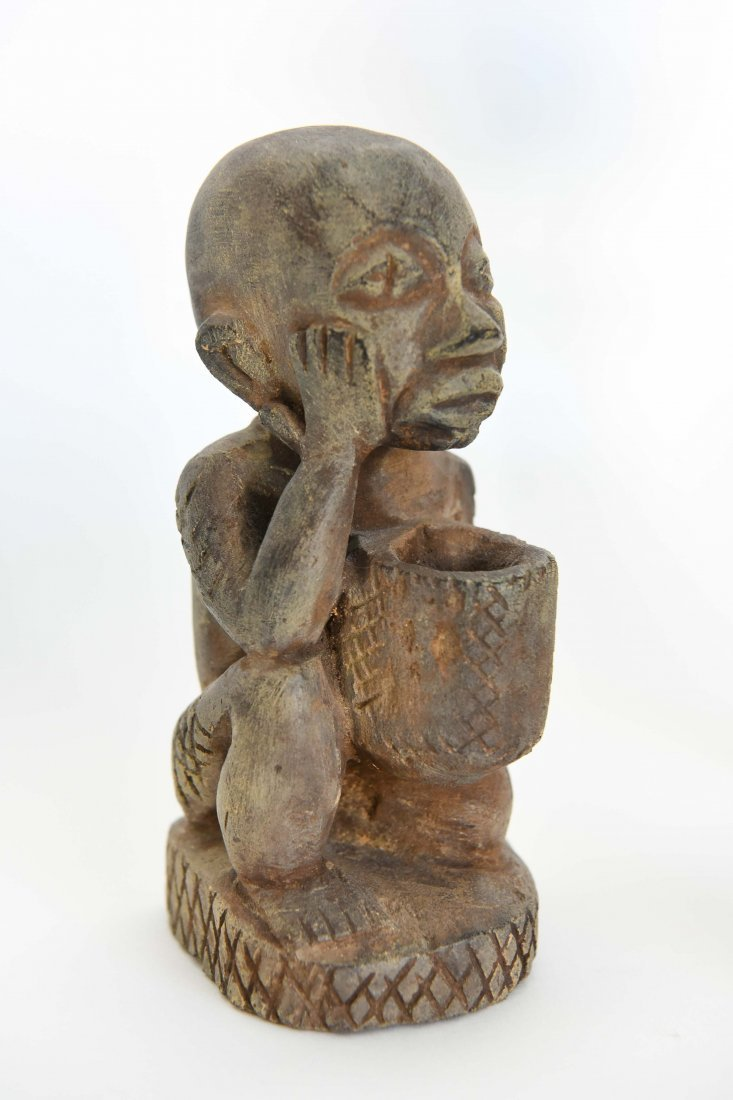 (6) AFRICAN CARVED FIGURES OF STONE, BRONZE & WOOD - 2