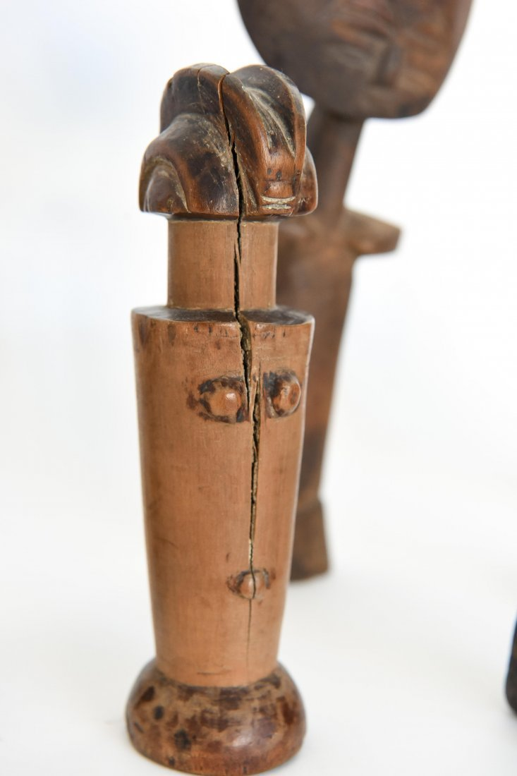 (6) AFRICAN CARVED FIGURES OF STONE, BRONZE & WOOD - 3