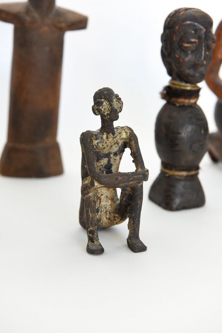 (6) AFRICAN CARVED FIGURES OF STONE, BRONZE & WOOD - 4