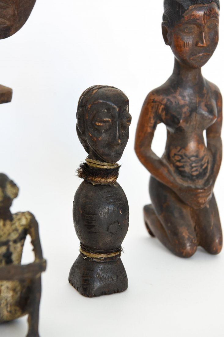 (6) AFRICAN CARVED FIGURES OF STONE, BRONZE & WOOD - 5