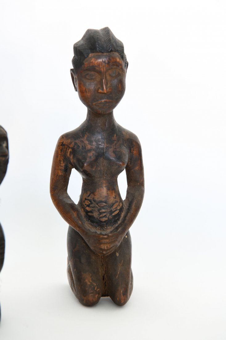 (6) AFRICAN CARVED FIGURES OF STONE, BRONZE & WOOD - 6