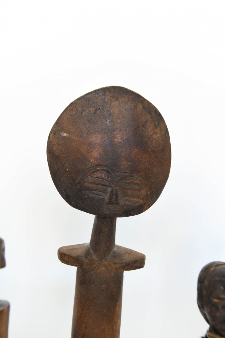 (6) AFRICAN CARVED FIGURES OF STONE, BRONZE & WOOD - 7