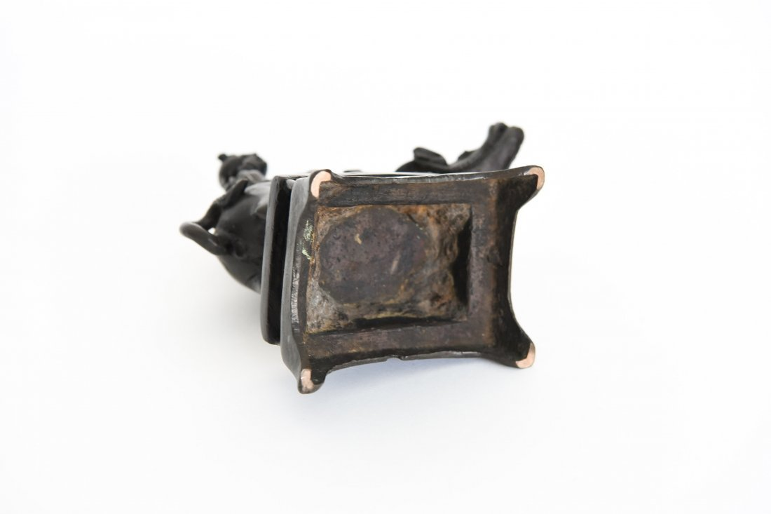 CHINESE BRONZE SEATED SCHOLAR ON A WATER BUFFALO - 8
