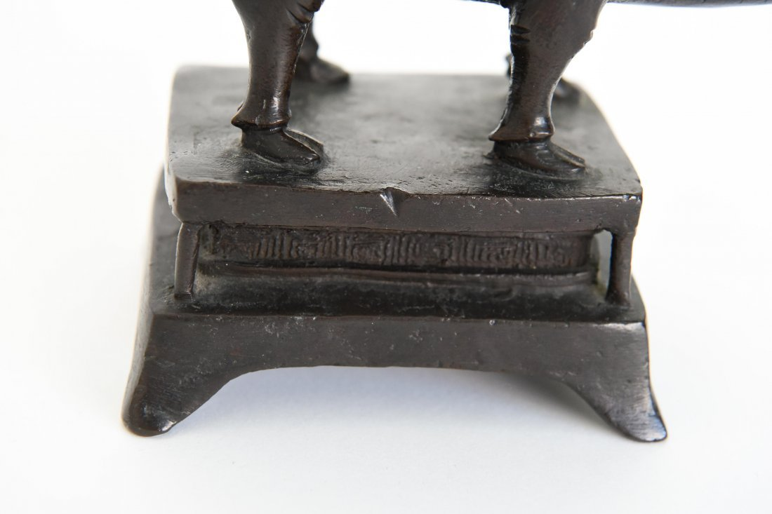 CHINESE BRONZE SEATED SCHOLAR ON A WATER BUFFALO - 9