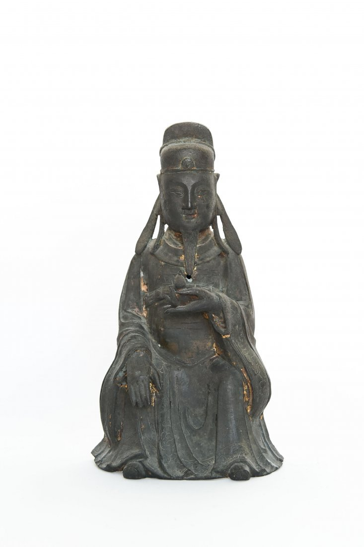 CHINESE BRONZE SEATED MONK FIGURE