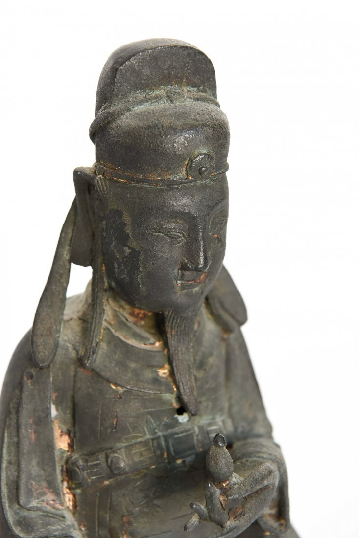 CHINESE BRONZE SEATED MONK FIGURE - 2