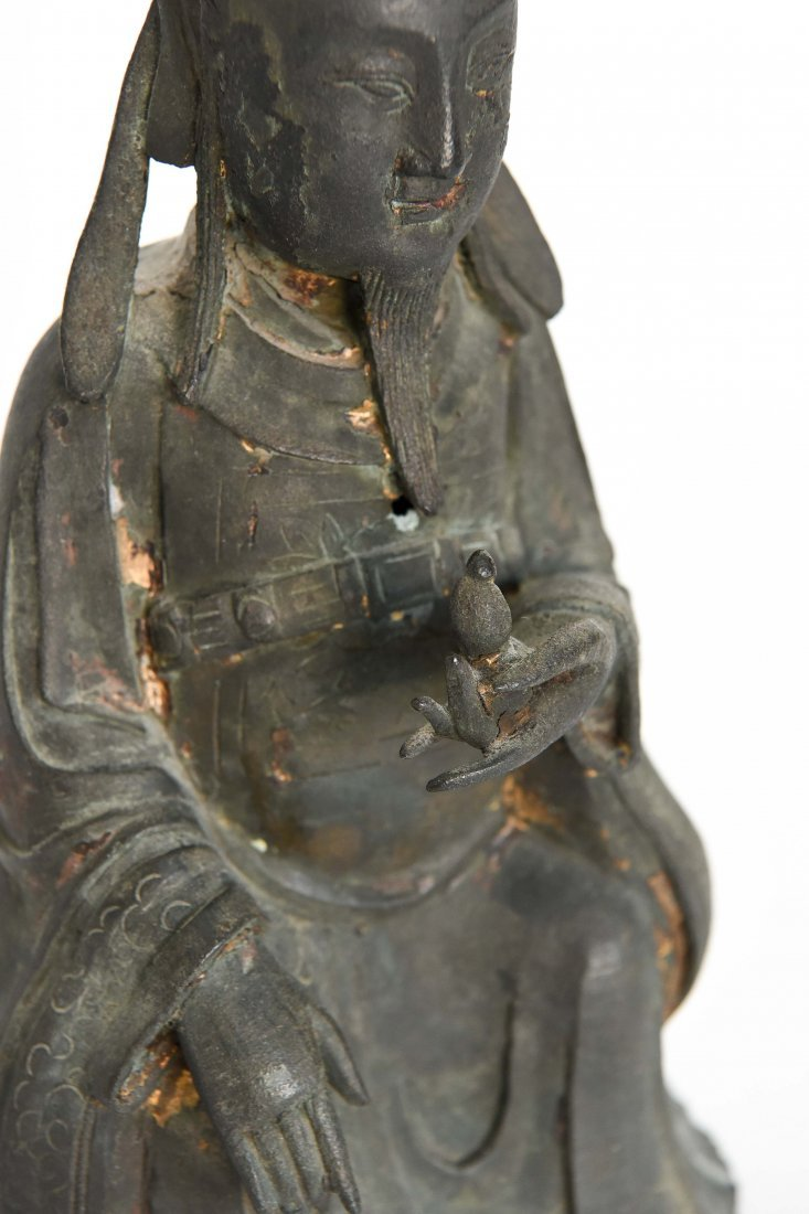 CHINESE BRONZE SEATED MONK FIGURE - 3
