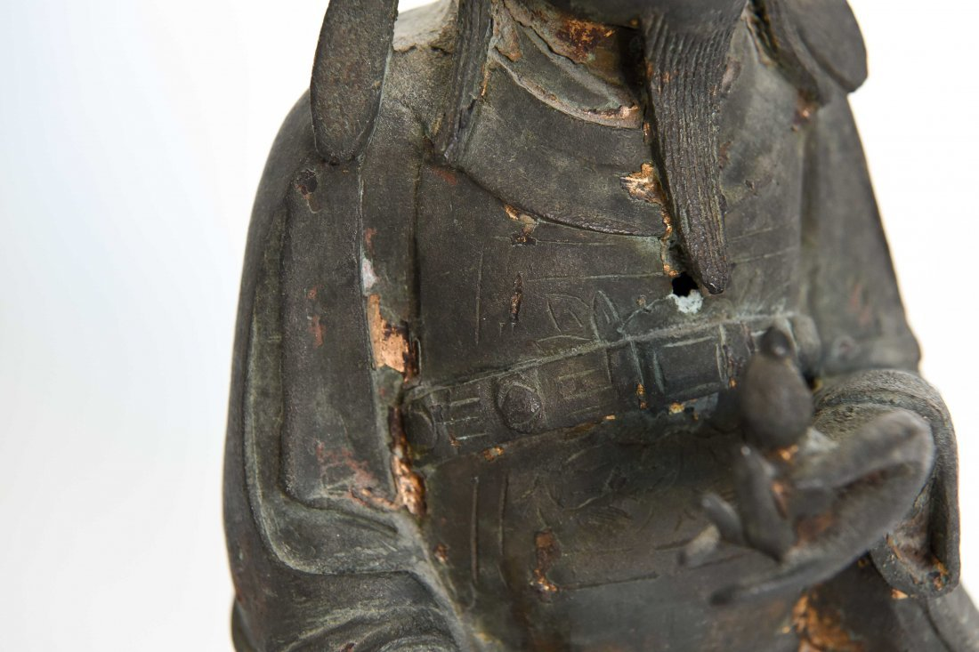 CHINESE BRONZE SEATED MONK FIGURE - 5