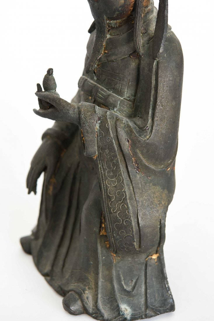 CHINESE BRONZE SEATED MONK FIGURE - 6