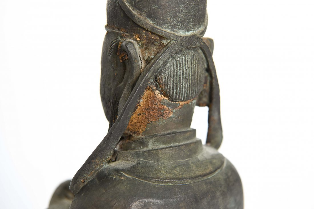 CHINESE BRONZE SEATED MONK FIGURE - 8