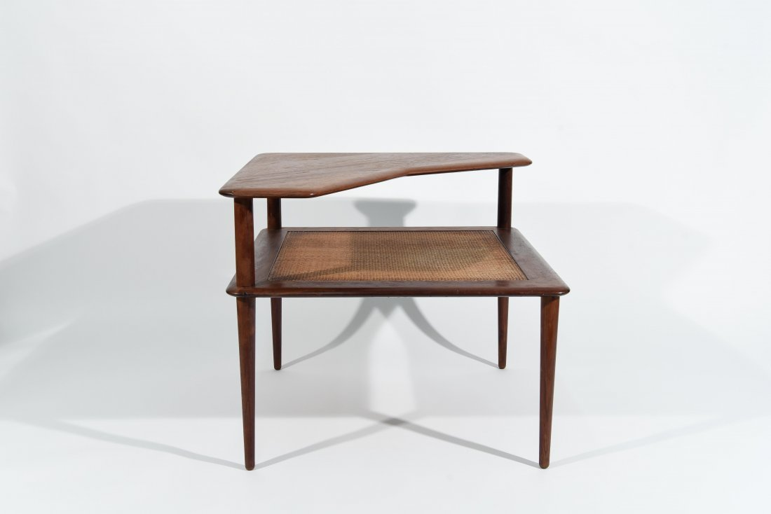 MID CENTURY CANE 2 TIER END TABLE