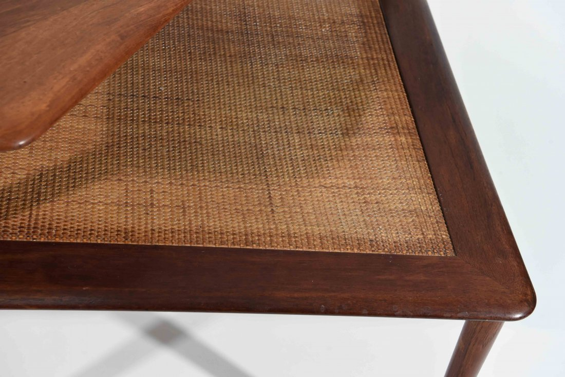 MID CENTURY CANE 2 TIER END TABLE - 2