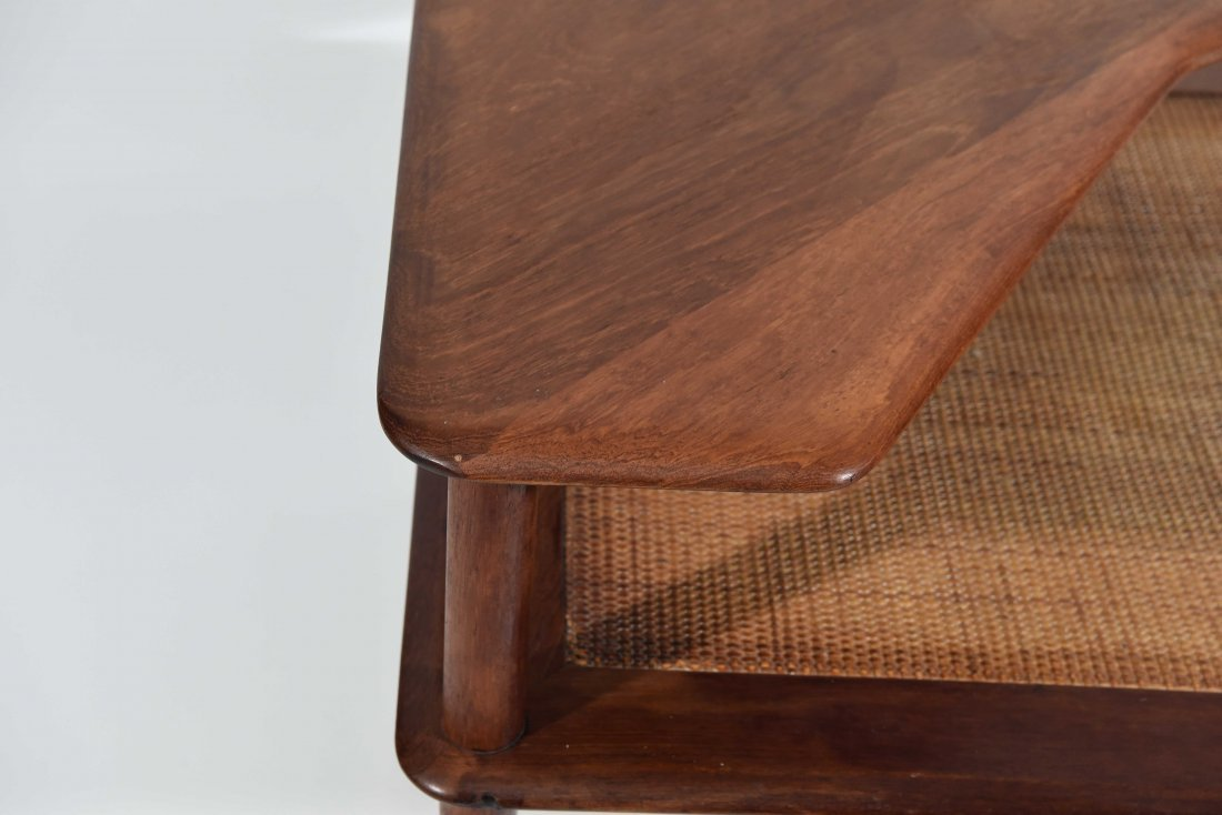 MID CENTURY CANE 2 TIER END TABLE - 3