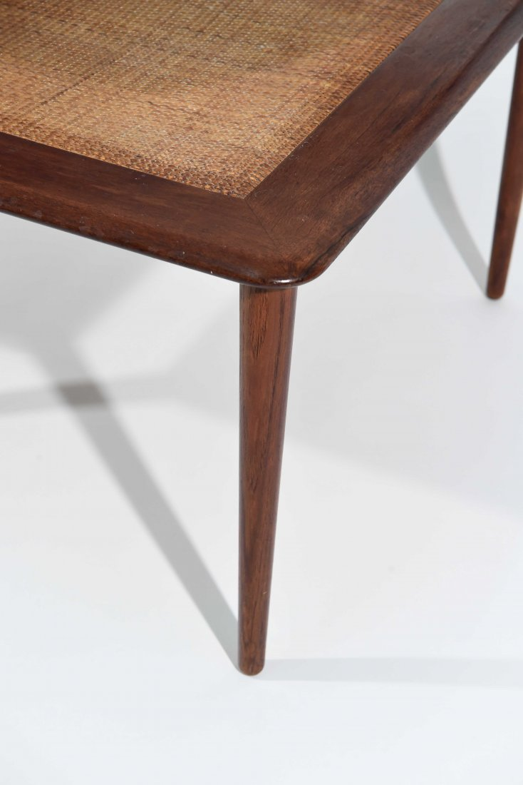 MID CENTURY CANE 2 TIER END TABLE - 4