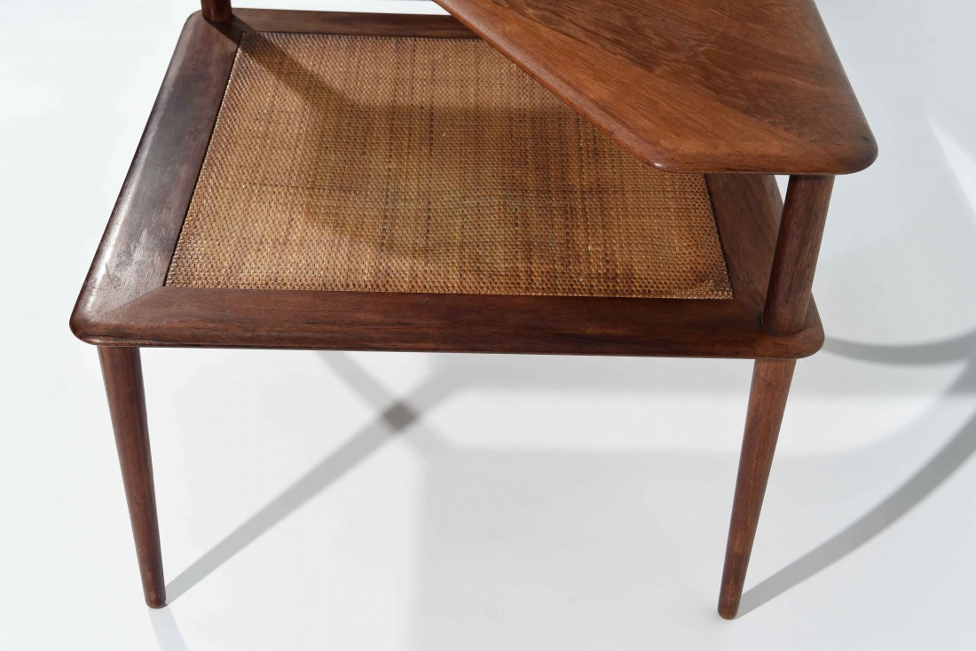 MID CENTURY CANE 2 TIER END TABLE - 5