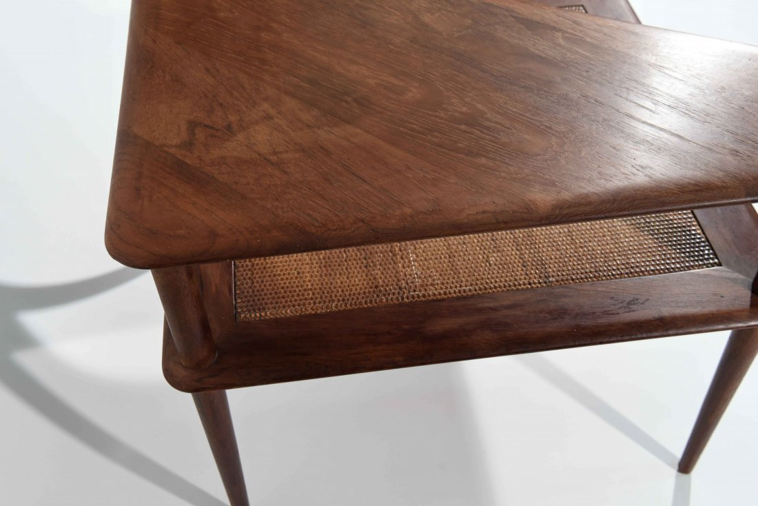 MID CENTURY CANE 2 TIER END TABLE - 6