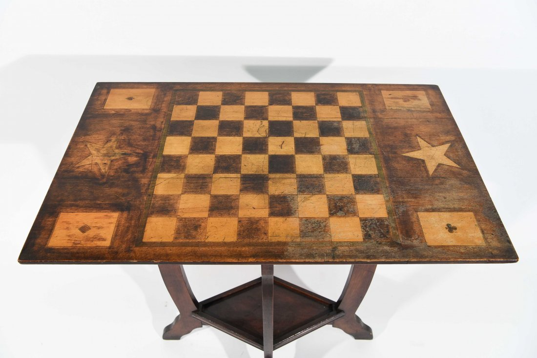 ANTIQUE FOLK PAINTED CHESS & GAME TABLE