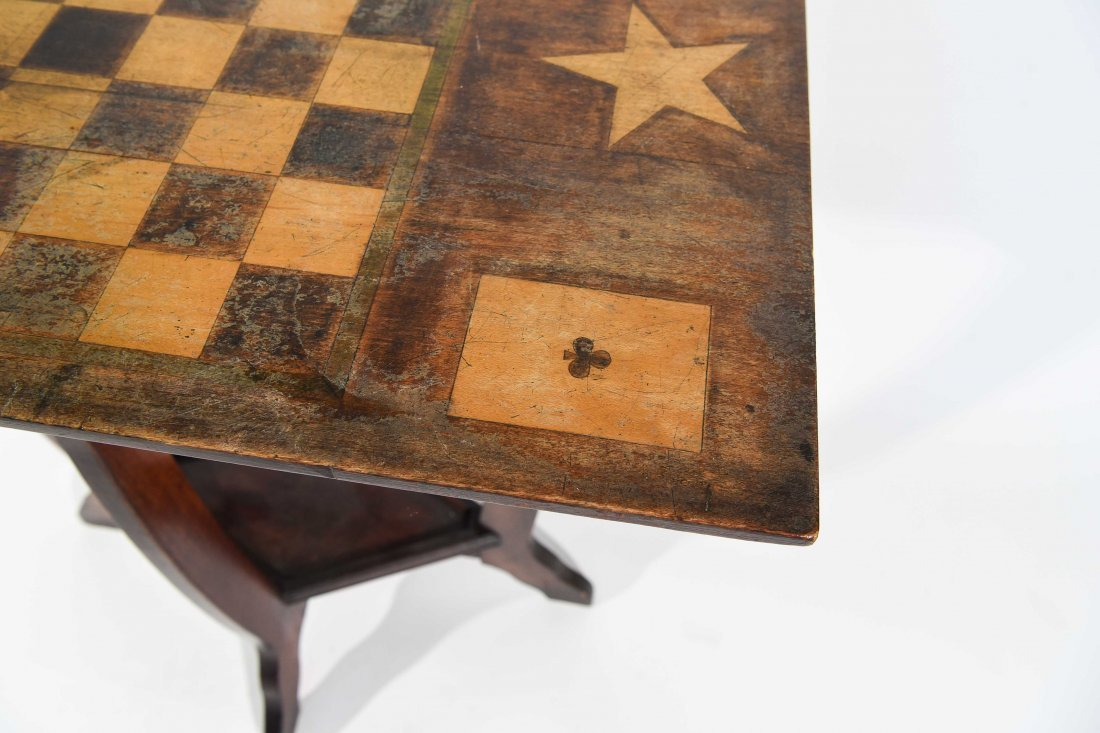 ANTIQUE FOLK PAINTED CHESS & GAME TABLE - 4