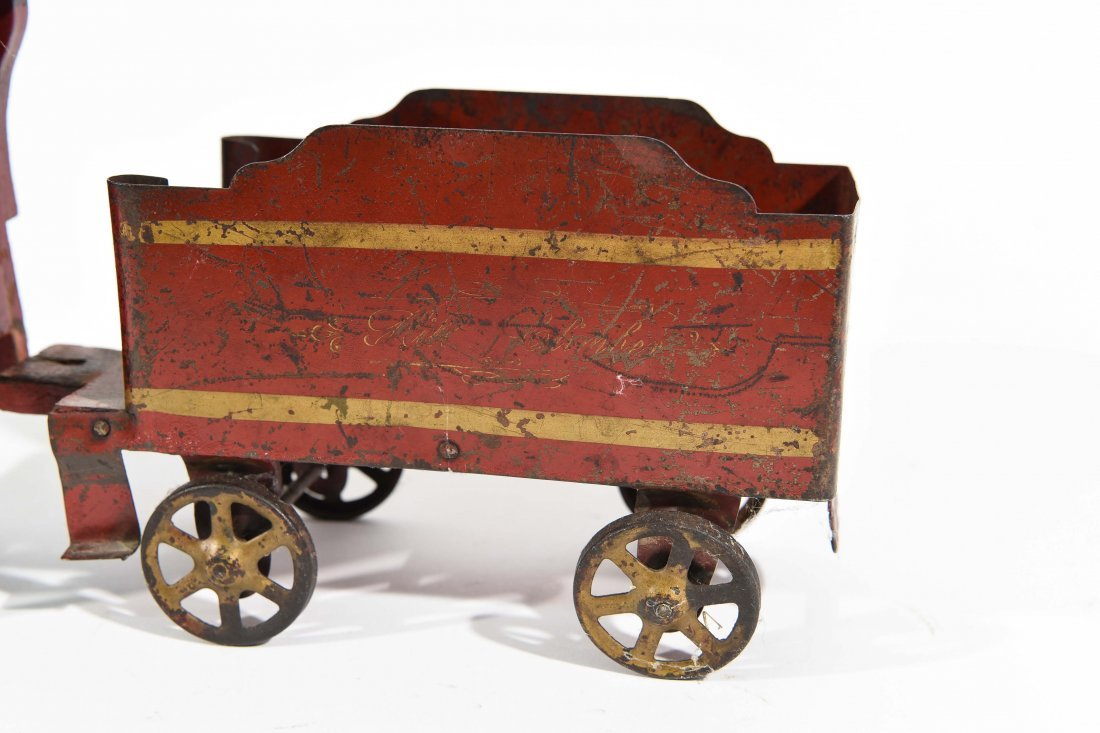 ANTIQUE WINDUP IRON TOY TRAIN - 7