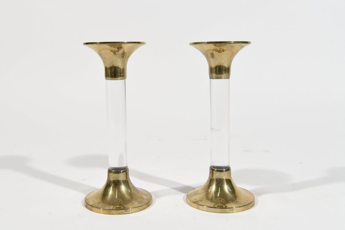 LUCITE AND BRASS CANDLESTICKS