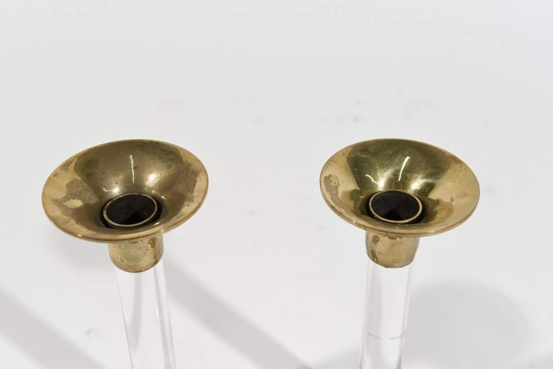 LUCITE AND BRASS CANDLESTICKS - 2