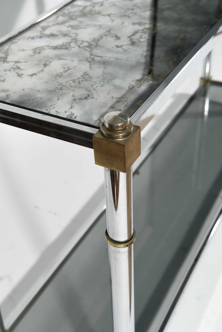 CHROME & BRASS CONSOLE TABLE - 3
