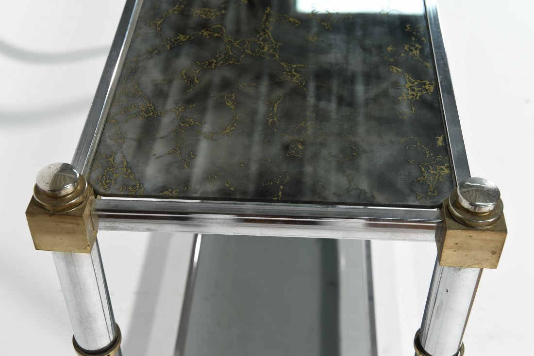 CHROME & BRASS CONSOLE TABLE - 4