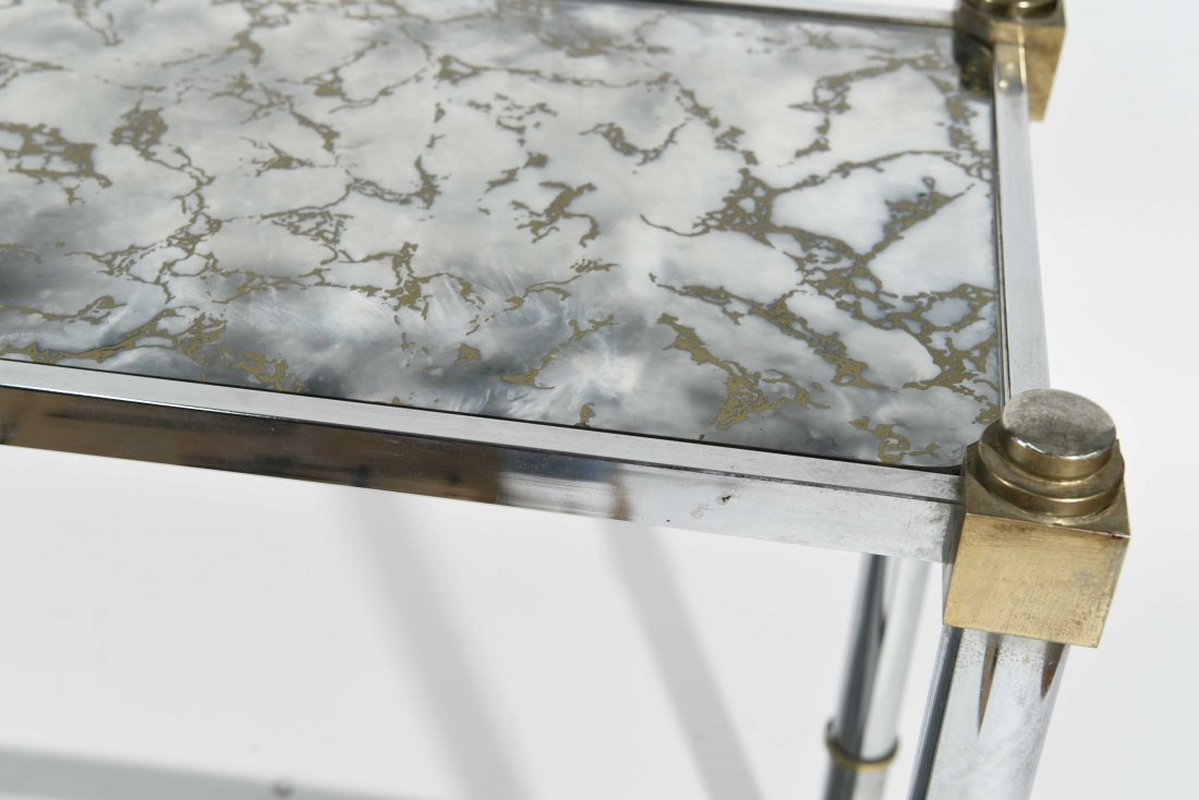 CHROME & BRASS CONSOLE TABLE - 6