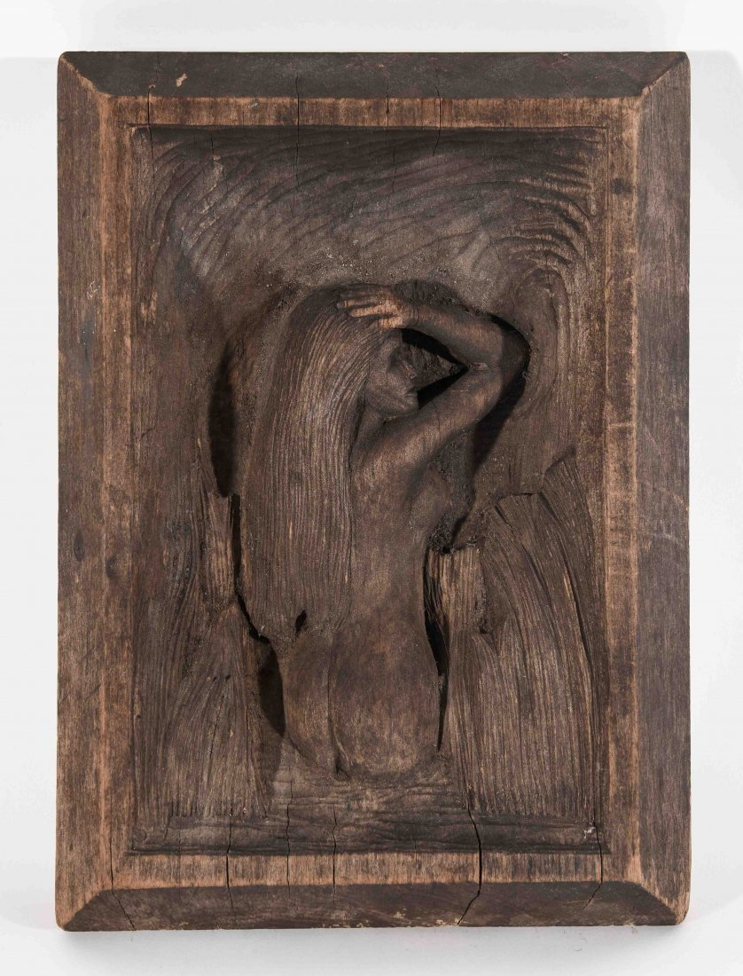 WOOD FOLK ART CARVING OF A FEMALE NUDE