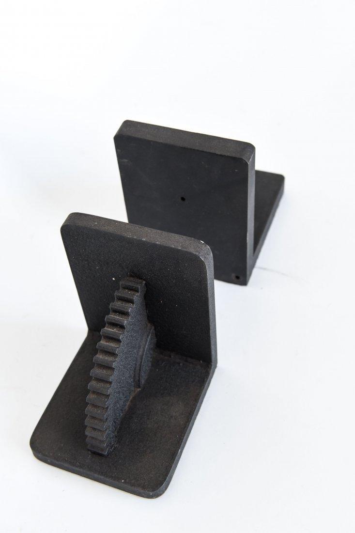 (2) TEXTURED STEEL MACHINE COG BOOKENDS - 3