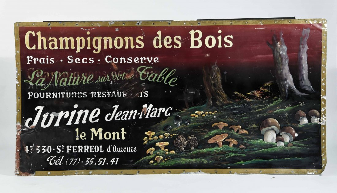CHAMPIGNONS DES BOIS PAINTED FRENCH SIGN