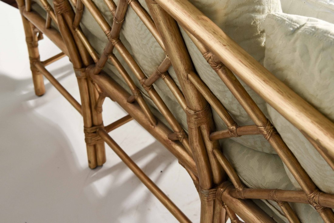 GOLD PAINTED FAUX BAMBOO SETTEE - 10