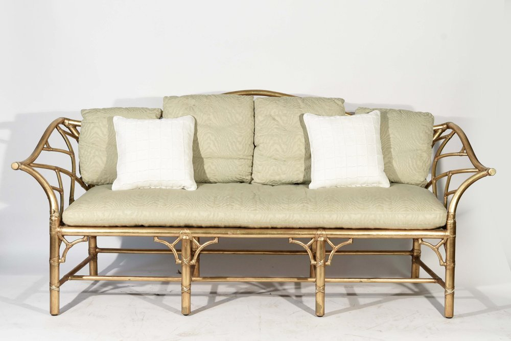GOLD PAINTED FAUX BAMBOO SETTEE