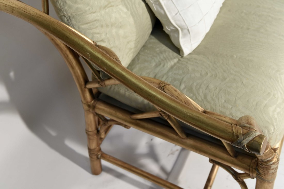 GOLD PAINTED FAUX BAMBOO SETTEE - 2