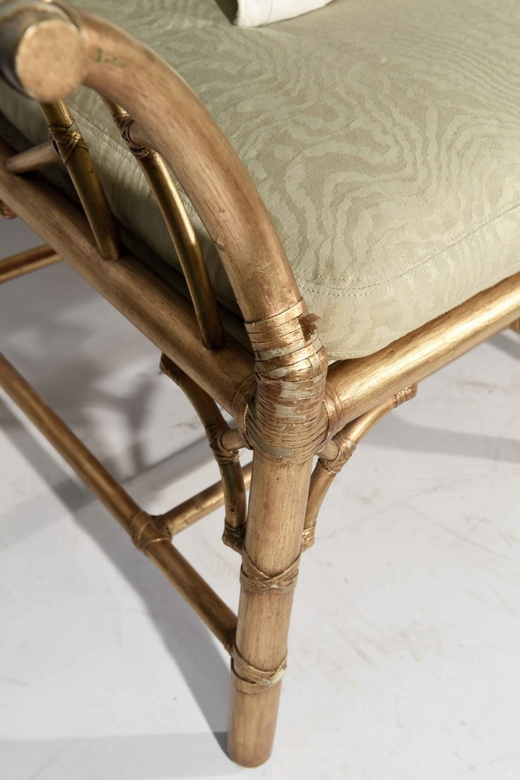 GOLD PAINTED FAUX BAMBOO SETTEE - 3
