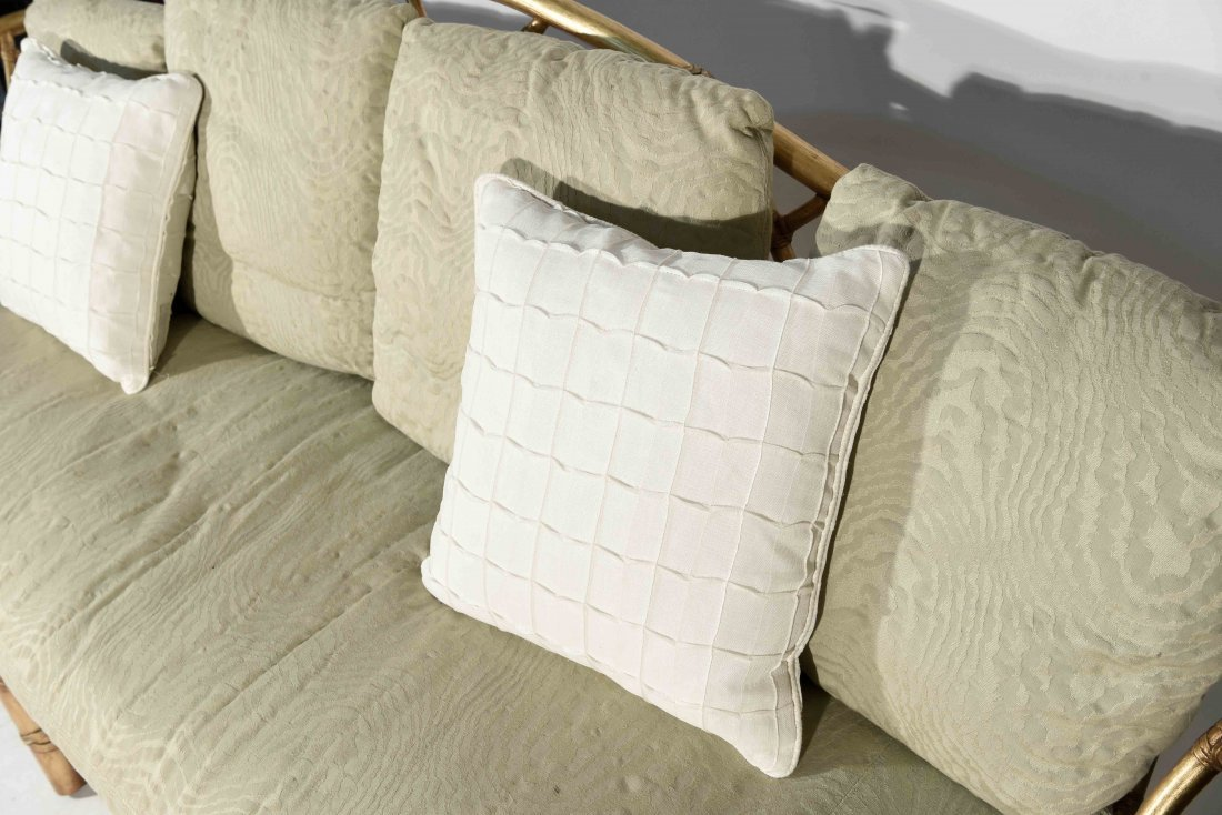 GOLD PAINTED FAUX BAMBOO SETTEE - 5