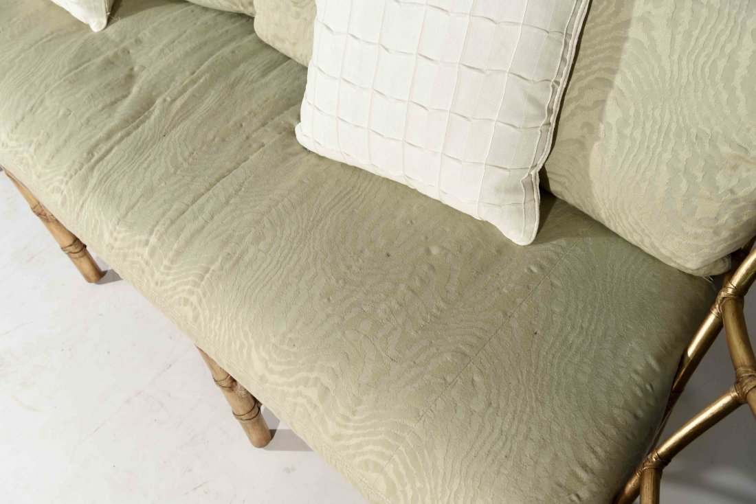 GOLD PAINTED FAUX BAMBOO SETTEE - 6