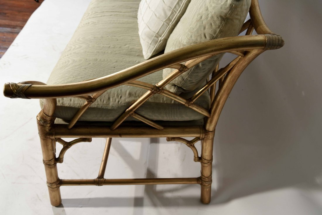 GOLD PAINTED FAUX BAMBOO SETTEE - 7