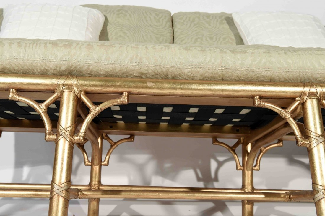GOLD PAINTED FAUX BAMBOO SETTEE - 8